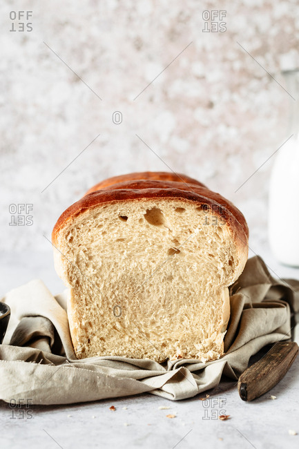 The inside of a soft  milk bread