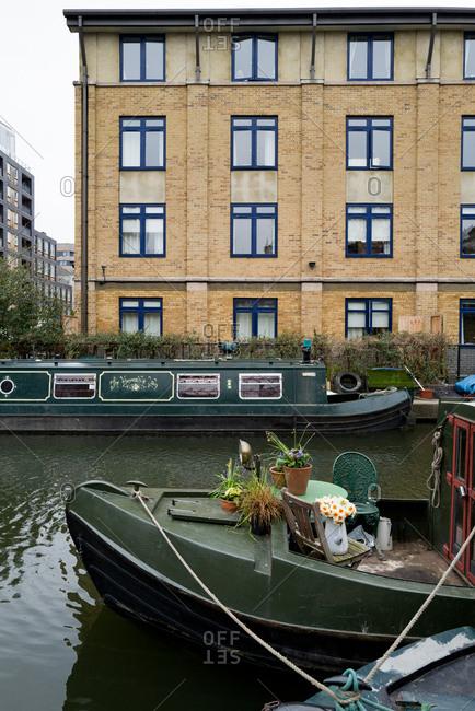 London, UK, March 2019: Houseboard on Regent canal