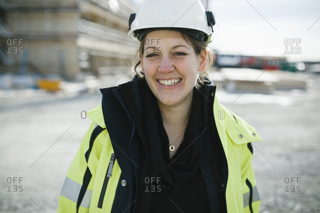 Female construction worker on building site