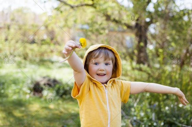 Happy girl in garden