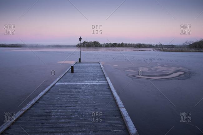 Wooden pier in lake