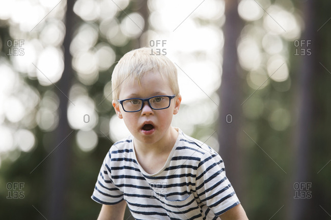 Boy posing in forest - Offset