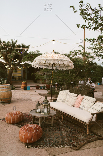 Outdoor seating area in the desert