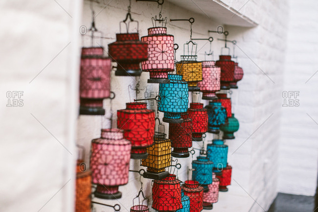 Wall decor with vintage colorful lanterns