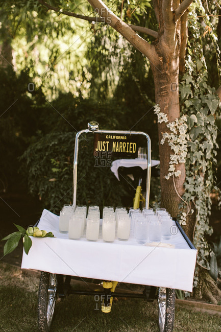 Just married drink cart with fresh lemonade