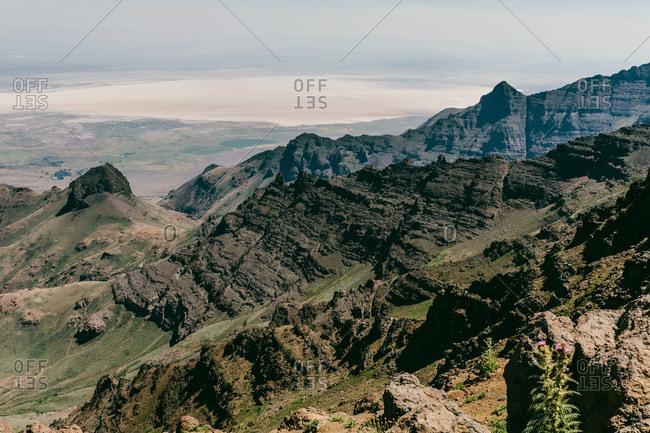 Eastern Oregon mountain range overlooking the desert