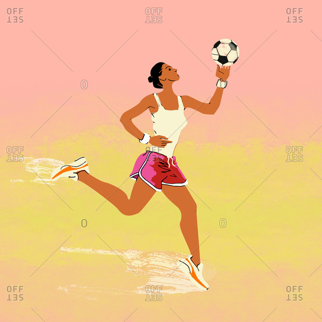 Running woman with soccer ball in hand
