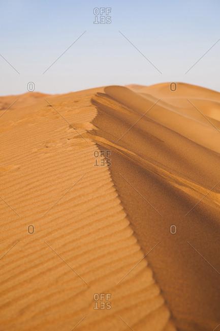Dunes on desert sand