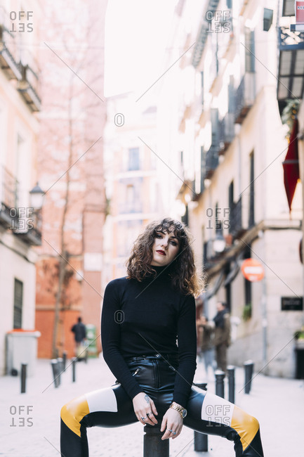 Young pretty woman posing in Madrid streets