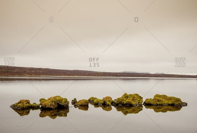Picturesque view of lake and coast with stone cliff and dry grass in Iceland
