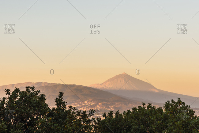 Picturesque view of village in valley near mountain Teide and blue heaven in Tenerife, Canary Islands, Spain