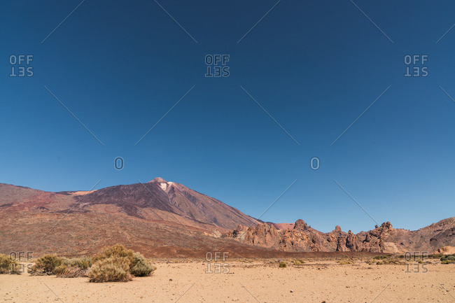 sand land near mountain Teide and picturesque view of blue heaven in Tenerife, Canary Islands, Spain