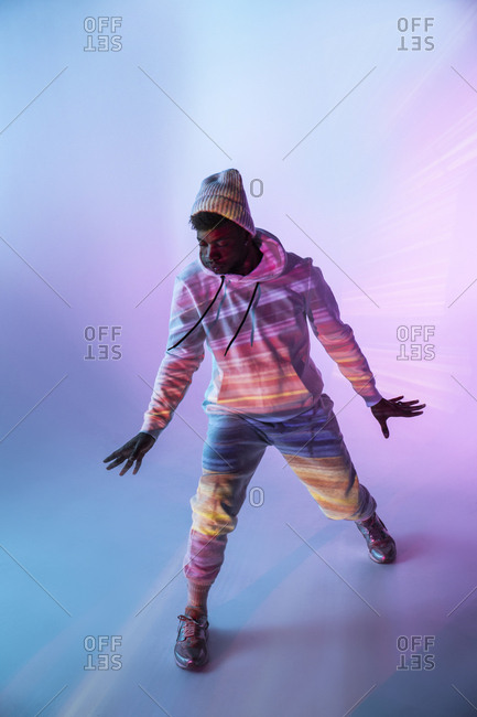 Male dancer under bright light