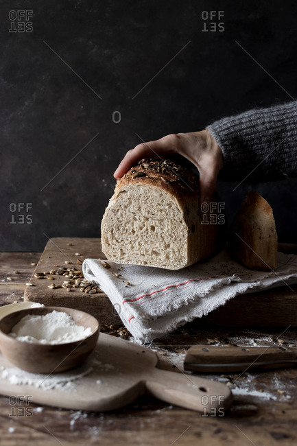Hand holding a loaf of delicious rye bread with seeds lying on timber tabletop near raw flour