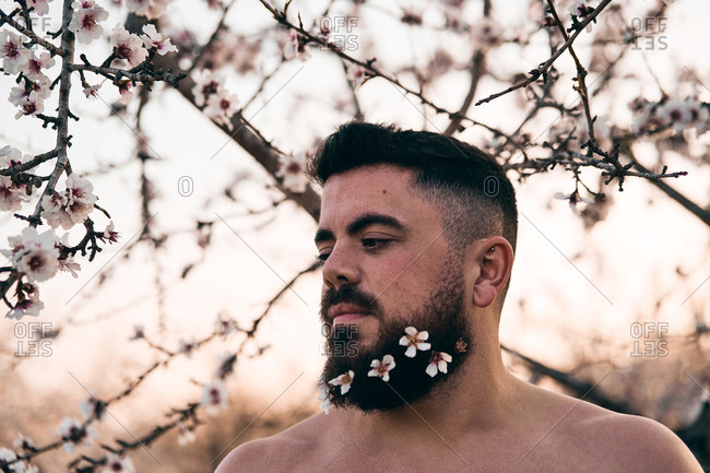 Man with flowers in beard