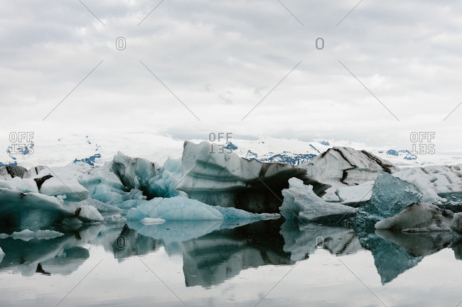 Icebergs reflecting in the water