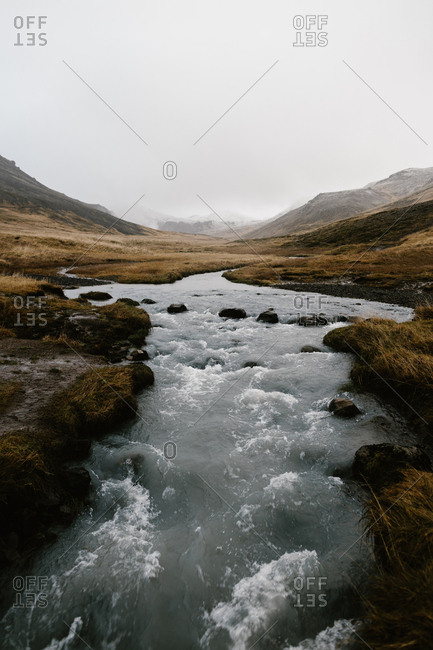 Rushing water in a river