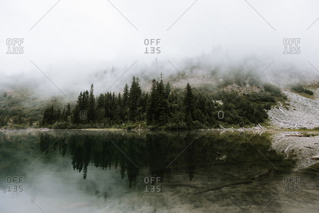 Fog covering lakeside mountain and forest