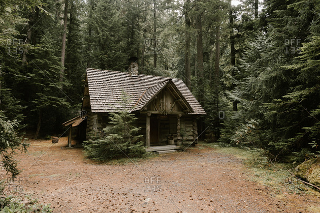 Rustic log cabin in the woods