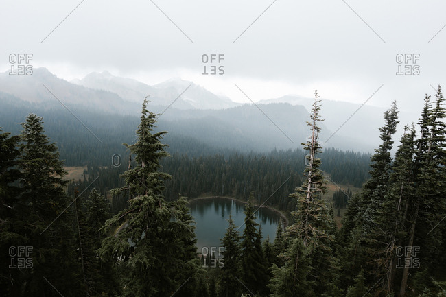 Bird's eye view over beautiful mountains and lake