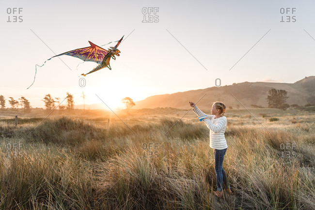 Girl flying kite in tall grass at sunset