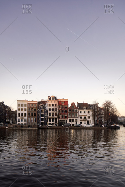 Amsterdam, Netherlands - February 26, 2019: Canal houses in the city center