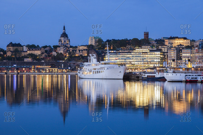 January 3, 2016: Ship on river at sunset in Stockholm, Sweden