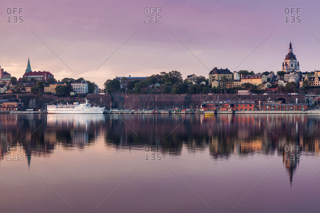 Skyline at sunset in Stockholm, Sweden