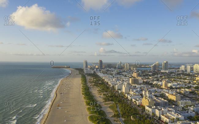 Coastline of Miami Beach in Florida, USA