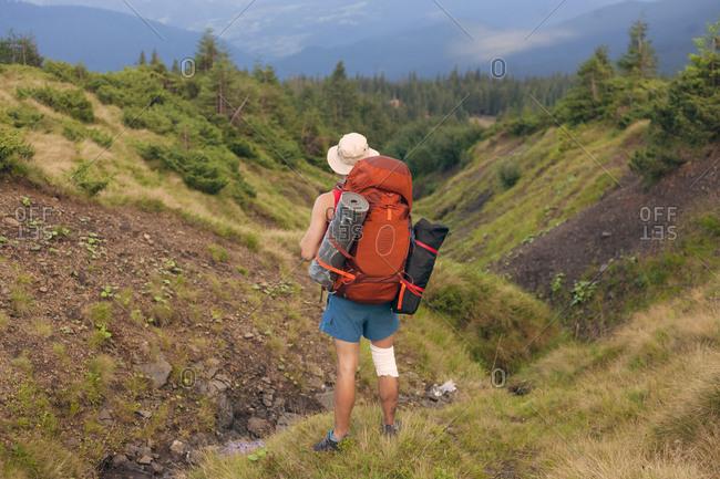 Man hiking in the Carpathian Mountain Range