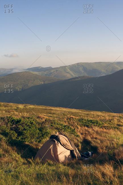 Tent in the Carpathian Mountain Range