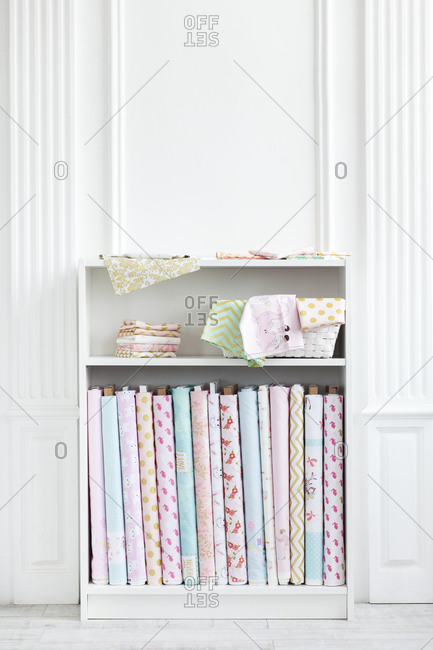 Variety of fabric on shelf