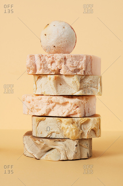 Still life of natural hand made soap and bath bombs on neutral background