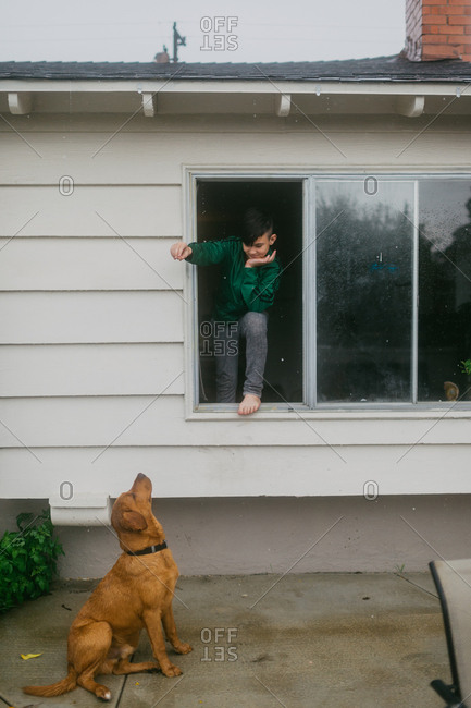 Boy holding treat out window for dog to catch
