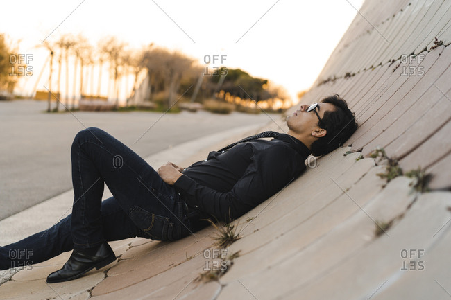 Fashionable young man relaxing