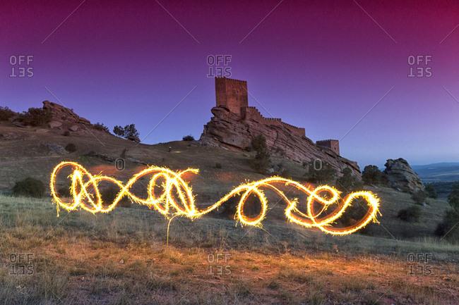 Spain- Guadalajara- Castle of Zafra- Light painting
