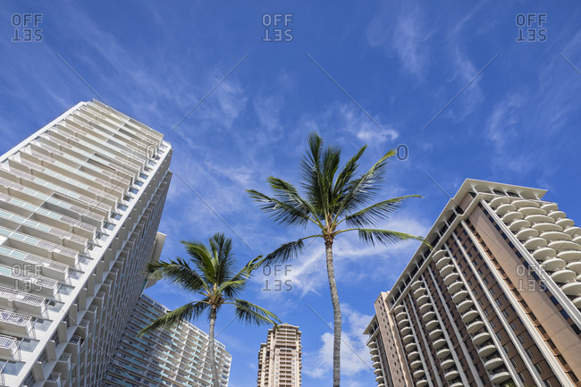 USA- Hawaii- Oahu- Honolulu- Waikiki- high-rise buildings- low angle view