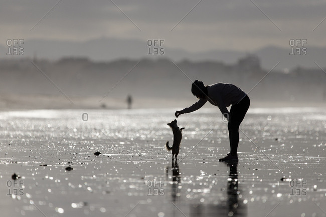 Spain- Tarifa- silhouette of woman playing with her little dog on the beach