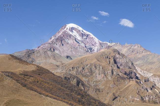 Georgia- Greater Caucasus- Stepantsminda- view on Mount Kazbek