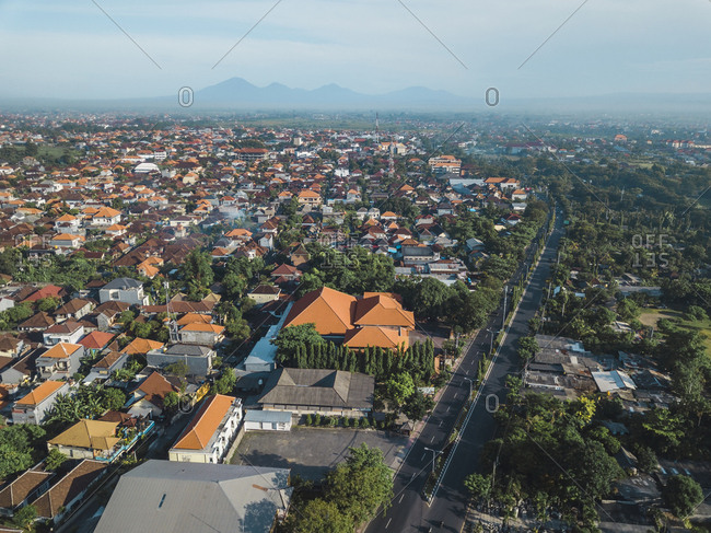 Indonesia- Bali- Aerial view of Sanur
