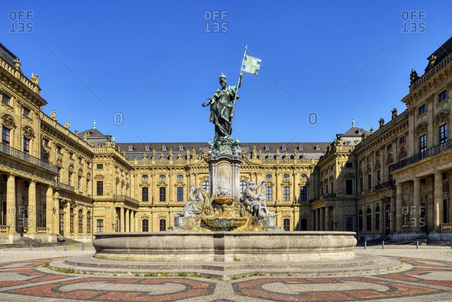 Wuerzburg Residence with Franconia Fountain- UNESCO World Heritage Site- Wuerzburg- Franconia- Bavaria- Germany