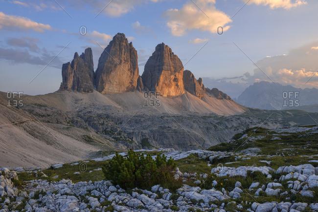 The Tre Cime di Lavaredo  at sunset- Parco Naturale Tre Cime- Sexten Dolomites- Italy