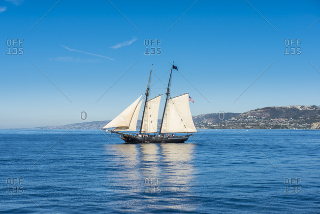 USA- California- Channel islands- Santa Catalina Island- Avalon- Sailing boat