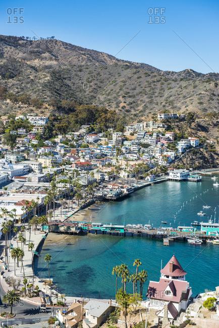 November 12, 2015: USA- California- Channel islands- Santa Catalina Island- Avalon- view to harbour