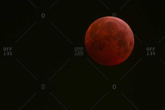 Germany- Frankfurt on Main- total lunar eclipse during maximum eclipse