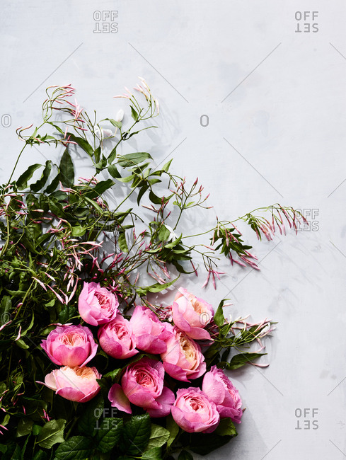Bouquet of flowers on a slate f marble.