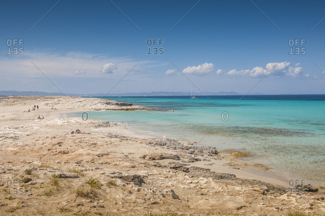 "June 9, 2013: Spain, Formentera . Balearic Islands. Beach called ""Platja de LLevant"", Parc des Salines. Platja de Llevant""Levante Beach"", is a beautiful beach, with extensive dimensions, white sand and turquoise sea"