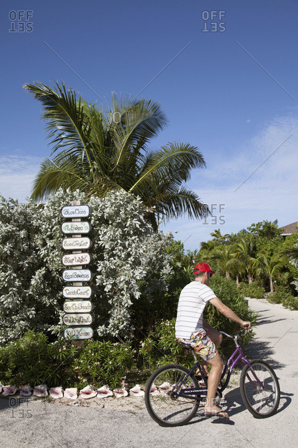 October 27, 2011: EXUMA, Bahamas. The directions to the different Villas at the Fowl Cay Resort.