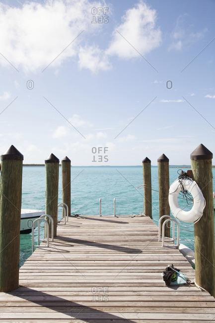 October 27, 2011: EXUMAS, Bahamas. The dock at the Fowl Cay Resort.