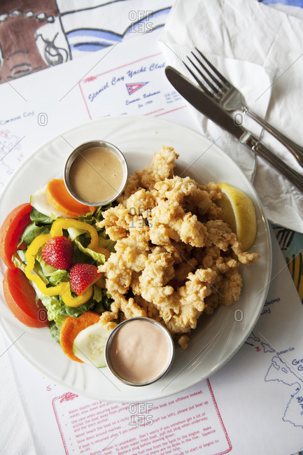 October 27, 2011: EXUMA, Bahamas. Conch Fritters at the Staniel Cay Yacht Club in Staniel Cay.